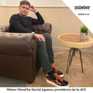David Aganzo, president of AFE, wears the new Mister Shoes sneakers.