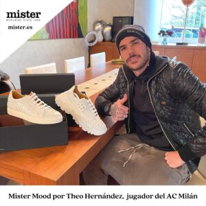 Theo Hernández, brilliant with the new Mister Shoes sneakers collection